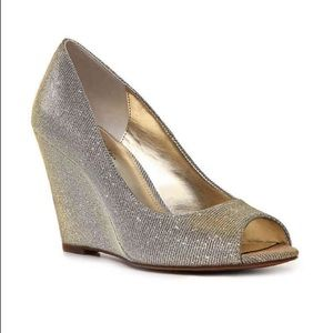Kelly & Kate Silver/Gold Glittered Wedge Peep-toe